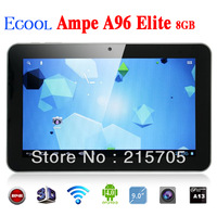 "Popular Black Ampe A96 Elite 8GB Allwinner A13 1.5GHz 9"" WIFI HD 5-Point Capacitive Touch Screen Android 4.0 800*480 Tablet PC"