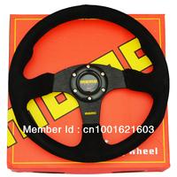 Universal Flat MOMO Racing Car Steering Wheel(red stitch)