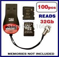 100pcs USB card readers memory stick micro sd TF M2 reads 2gb 4gb 8gb 16gb 32gb class 10 key holder wholesale LOT