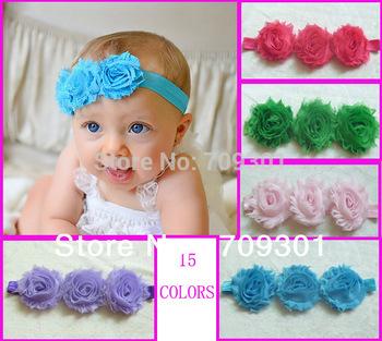 Chic Triple Shabby Flower Headbands Baby Headbands Newborn Headband 15pcs/lot 15 Colors In Stock