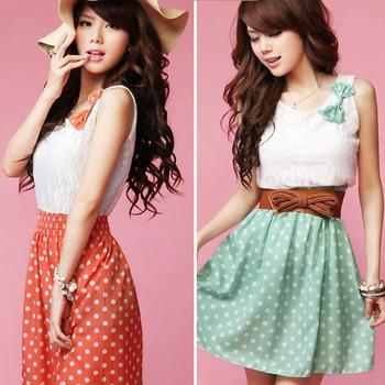 2015 Women Ladies Sweet Cute Sleeveless Summer Dress Polka Dot Print Casual Chiffon Lace Dress Mini Vestidos Free Shipping 0414