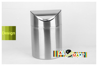 Mini Stainless Steel Table  Dustbin Trash Can Waste Garbage Christmas Gift Free Shipping