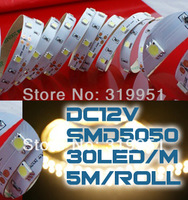 12 volt led lights,5050 led strip,DC12V,30leds/m,5m a roll,10mm White PCB,no-waterproof led strip,christmas lights free shipping