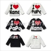 Free shipping Baby clothes, i love papa mama baby shirt/T-Shirt boy & girl long-Sleeve Shirt,Infants & Toddlers T shirt