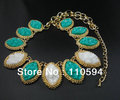 New Arrival gold plated chain turquoise double color resin bib chorker collar women Statement Necklace jewelry,free shipping