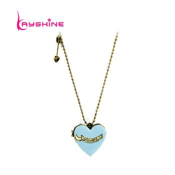 Fashion 2015 New Lovely Blue Enamel BoxOpenable Heart Pendant Necklace Colgante
