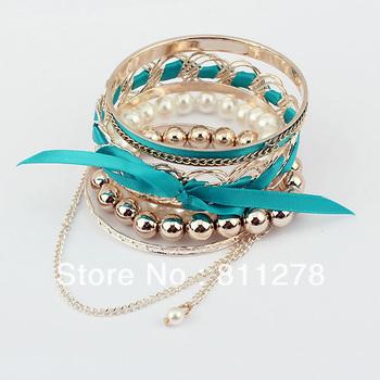 Min. order is $10(mix) Модный Korea imitation bowknot Bangle multilayer pearl bracelet ...