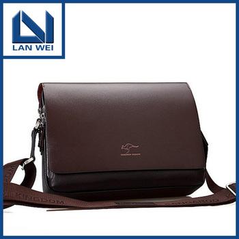 2014 Top Rushed Bolsas Kangaroo Mens Leather Crossbody Shoulder Messenger Bag Briefcase 2 Colors Versions free Shipping Handbag