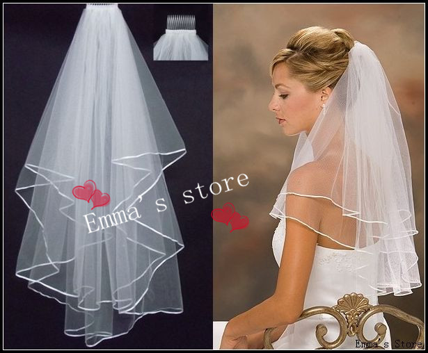 Free Shipping Wholsale Hot Sale 2014 In Stock Two Layers White Veils Tulle Ribbon Edge Comb Wedding Veil Bridal Accessory(China (Mainland))