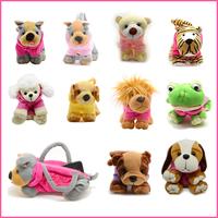 Cute Soft Plush Pet Dog Shaped Bags with Clothes Cartoon Dog Mini Handbags Plush Casual Animal Bags Free shipping