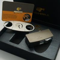 COHIBA Matt Silver Black Metal Cigar Cigarette Lighter With Cigar Cutter Set