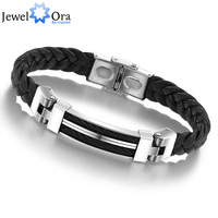 Wholesale Wide Mens weave Chain Bracelet Men 60mmx70mm JewelOra #BA100617  304 Stainless Steel Men Leather Bracelet