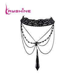 New coming handmade black main stone gothic vintage chokers free shipping(China (Mainland))