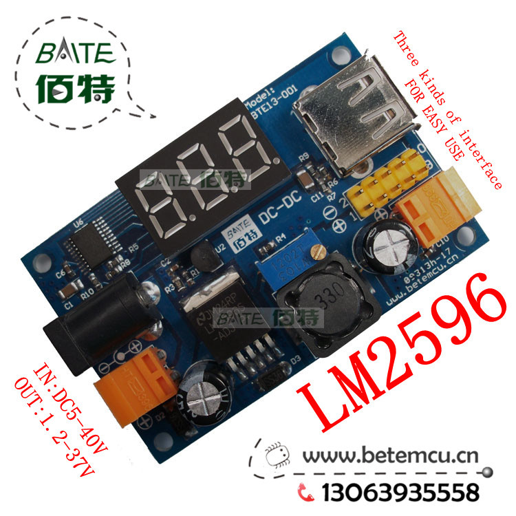New LM2596 DC 4.5~40 to 1.25-37V Adjustable Step-Down Power Module + LED Voltmeter + USB port +2.54mm needle easy use BTE13-001(China (Mainland))