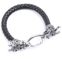 Free shipping 12pcs/lot Alloy Dragon Pulsera Serpentine Leather Wrist Band Buckle Bracelet Collection Jewellery QNW0309