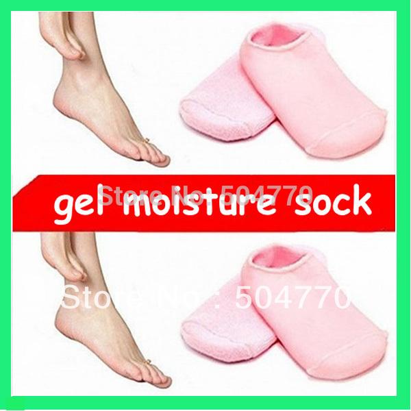 Brand New Soft Spa Gel Socks for bautiful feet/Moisturizing Treatment Gel Spa Socks-Pink, Blue and Red(China (Mainland))