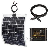 UK STOCK! 30W Flexible 12V Mono solar panel full kit, regulator,cable, battery clips,factory directly wholesale,fast ship