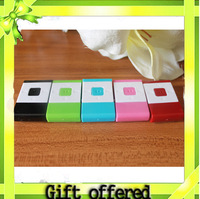 Free Shipping Wholesale (30pcs/lot) 2013 Newest Mini Clip MP3 in 5 Mixed Colors rectangle MP3 music player Support Micro TF Card