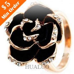 The High-grade Imported Jewelry Black Rose Flower Ring ,Rhinestone Open Ring R597