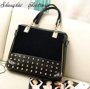 Hot Sale!  New 2015 ersonality rivet patchwork shoulder bags women's leather handbag  free shipping