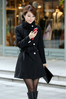 2013 fall new WOMEN'S plus size thin woollen jackets and coat women outerwear/overcoat with belt Korean womens long winter coats