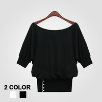 Free Shipping Women's Slim Patchwork Half Batwing Sleeve T-shirt #1286