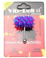 6pc/lot 2014 Hot Sale Set Unisex  Vibrating Barbell Rings Body Piercing Jewelry Koosh Ball