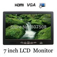 "Hot sale 7"" TFT LCD Car video touchscreen Monitors with HDMI 2AV VGA input+ remote control 12V"