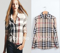 ST171 New Arrival womens' Classic Basic Plaid Blouse elegant slim casual cozy shirts long sleeve brand quality tops