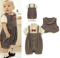 Gentleman styles boys suit/Popular baby suit/Stripe vest+ baby romper