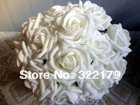 100X Fake Flowers White Foam Roses Bridal Bouquet Artificial Wedding Christams Decor Centerpiece Flowers Wholesale Lots