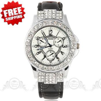 2014 women dress watches fashion Luxury Full Jewels embedded Case Decorative Sub-dials ladies quartz watch Movements wristwatch