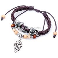 exotic  wooden beads bracelet with maple leaf  charm  beach bracelet