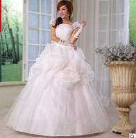 Free Shipping 2014 Fashion Sweet Puff Sleeve Bride Princess Wedding Dress
