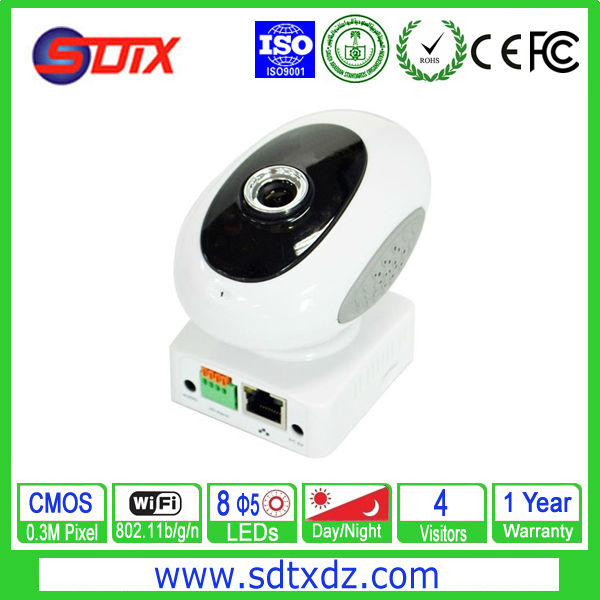 Indoor WIFI Network 0.3M Pixel CMOS IP Camera Two Way Audio(China (Mainland))