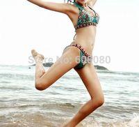 100% Brand New Push-Up Triangl Swimwear Sexy Pattern Floral Print  Bikini Set Monokini Swimsuit For Women Free Shipping 1203
