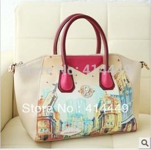 Free shipping 2015 hot sale fashionable women's handbag smiley bags one shoulder cross-body doodle bag vintage handbag