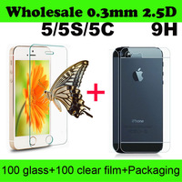 Wholesale Premium Tempered Glass Screen Protector Protective Film For iPhone5S With Retail Package 2.5D 9H 0.33mm 20pcs