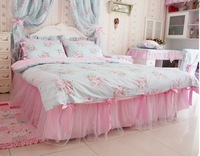 BD05 Garden rose lace princess duvet cove set bedding set 100% cotton 6pcs including freeshipping wholesale