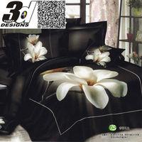 black bedsheet white flower 100 cotton Queen King size bedcover unique oil painting bedding set 3d luxury Duvet/quilt cover sets