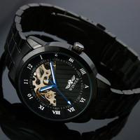 2014 NEW Hot Winner JARAGAR Women Golden Watch Leather Strap Band Strap Mechanical Self-Wind Watch,Business Men's Watches ML0218