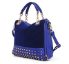 2013 new female bag rivet package stitching flannel bag shoulder bag fashion handbag free shipping BSF004