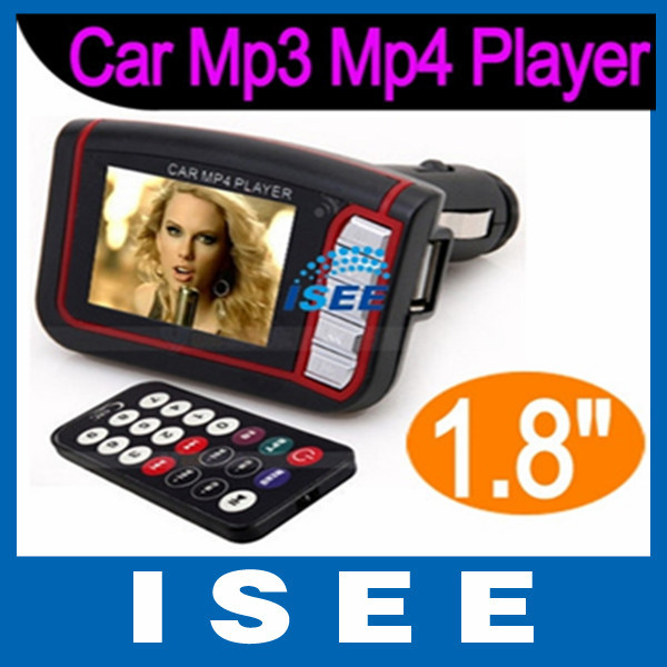 "1.8"" LCD Car MP3 MP4 Player Wireless FM Transmitter SD MMC Card with Remote Control Black+Free Shipping(China (Mainland))"