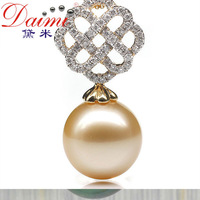 Daimi Promotion pearl    18k White Gold Diamond  12-13MM  round  natural South Sea gold pearl pendant Free Shipping