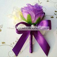 New Prom 10pcs Handmade Wedding Decoration  Boutonniere Artificial Rose Orchids Wrist Flower  Corsage Buttonhole Purple FL1206