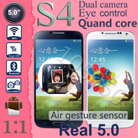 "Smart stay Eye control Air gesture Galaxy I9500 MTK6589 Quad core Cell phone Real 5""inch screen 13MP GPS WCDMA 3G S4 phone"