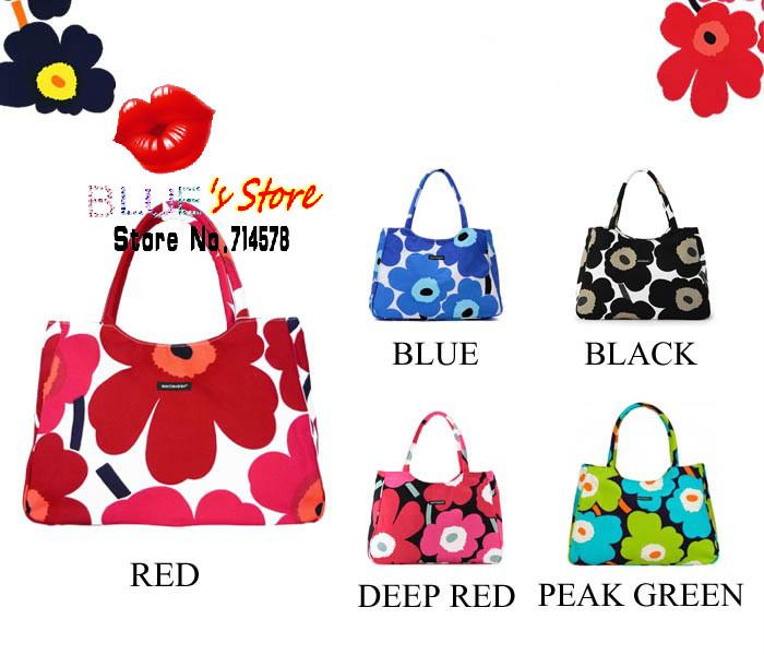 FREE SHIPPING fashion green flowers handbag black canvas tote bag famous brand designer candy color sakura canvas shoulder bag(China (Mainland))
