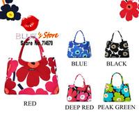 FREE SHIPPING fashion green flowers handbag black canvas tote bag famous brand designer candy color sakura canvas shoulder bag
