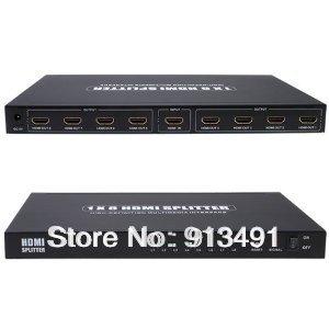 8-Port (1x8) HDMI 1.3 Amplified Powered Splitter / Signal Distributor - Ver 1.3 Full HD 1080P, Deep Color, HD Audio(China (Mainland))