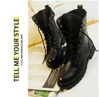HOT SALE WOMEN black biker boots flat women black PU army boots lady fashion short military combat boots laced-up boots